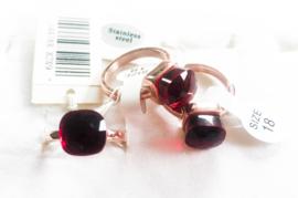 3 stainless steel ringen goud rosé maat 18/R2