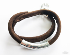 Leren wikkelarmband donkerbruin/ zilver
