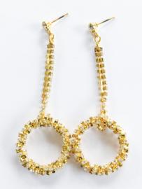 Strass oorbellen rondje goud