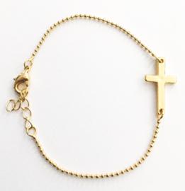 Armband kruisje verguld set van 3 stuks