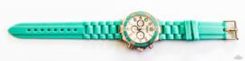 Rubberband horloge aquagroen/rosé