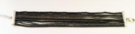 Armband metaal/kraaltjes zwart