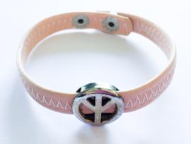Armband peace oud-roze