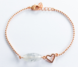 Armband verguld rosé natuursteen hartje set van 3