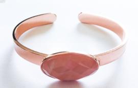 Rosé vergulde slavenarmband zalmkleurige  steen