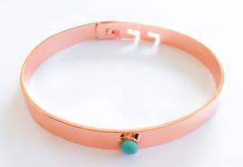 RVS armband kleine steen rosé