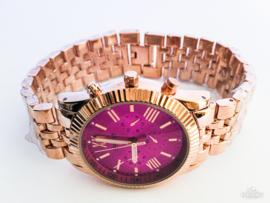 Horloge metaal rosé roze klok