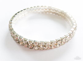 Strass armband 2-rijen zilver