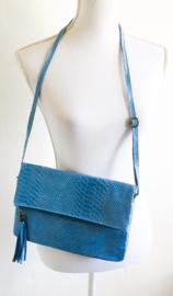 Leren tas lichtblauw