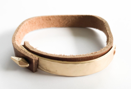 Leren armband goud/bruin