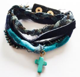 Wikkelarmband blauw/spijker