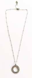 Stainless steel ketting ronde hanger zilver