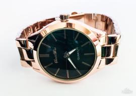 Horloge metaal rosé zwarte klok