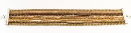 Armband metaal/kraaltjes bruin