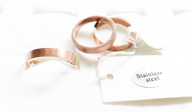 3 stainless steel ringen koperkleur maat 19/K1