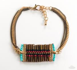 Bohemian armband bruin/aqua