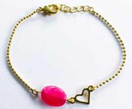 Armband verguld natuursteen hartje set van 3
