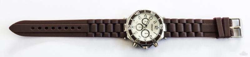 Rubberband horloge bruin/zilver