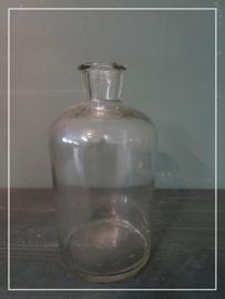 Kleine vintage gistfles bottelfles helder glas (24 cm)