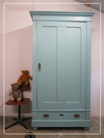 Grenen een deurs kleding- servies- kast turquoise pastel