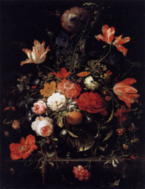 Canvas poster in frame Portret Stilleven met bloemen
