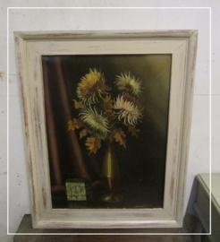 Brocante schilderij vaas met herfstbloemen