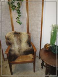 Oude brocante stoel rieten zitting