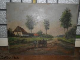 Brocante olieverf schilderij op paneel