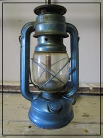 Oude brocante stormlamp - metalic blauw (sl014)