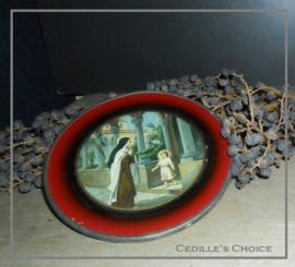 Religieuze afbeelding achter glas
