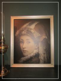 Ingelijst schilderspaneel met oosterse dame (b)