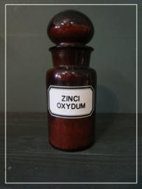 """Oude apothekers pot met label """"ZINCI OXYDUM"""" (21 cm)"""