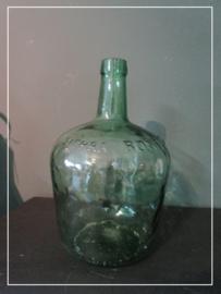 Oude brocante water fles met opschrift (32 cm)