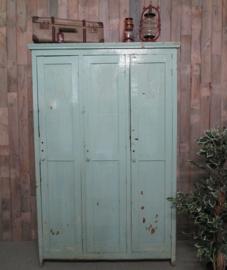 Industriële houten lockerkast - pastel groen