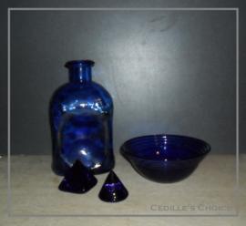Set blauw glas 4-delig