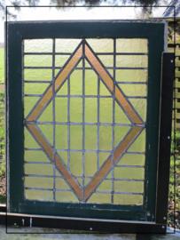 Brocante boerderijraam glas in lood (69 x 55 cm) (Gl056)