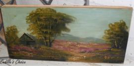 Oud brocante olieverf schilderijtje landelijk