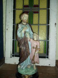 Oud brocante beeld heilige Jozef met kind Jezus 44 cm