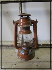 Oude brocante stormlamp - bruin (sl013)