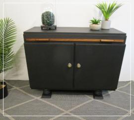 Zwart vintage bureautje kastje restyle