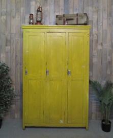 Industriële houten lockerkast - geel