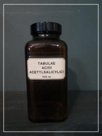 "Oude apothekers pot met label ""abulae acidi Acetylsalicylic"" (15 cm)"