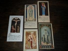Setje van 5 Franse religieuze plaatjes (P002)