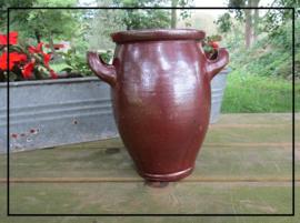 Brocante grespot / zuurkoolpot / keulsepot M zoutglazuur (23 cm)