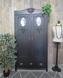 Zwarte Art Deco servieskast, linnenkast spiegeltjeskast
