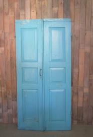 Oude set deuren luiken aqua blauw (L017)
