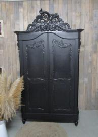 Stijlvolle antieke zwarte kuifkast