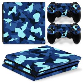 Army Camo Blauw Zwart - PS4 Pro Console Skins