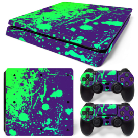 Splatter / Purple with Green - PS4 Slim Console Skins