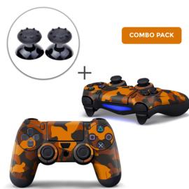 Army Camo Oranje Zwart Skins Grips Bundel - PS4 Controller Skins